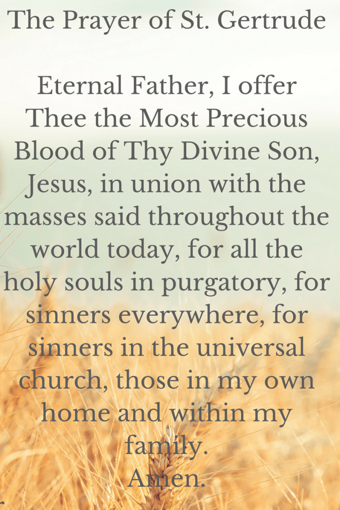 photo relating to Printable Prayer to St. Joseph named The Prayer of St. Gertrude the Outstanding for the Souls inside